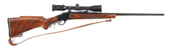 (M) BROWNING B-78 SINGLE SHOT RIFLE IN .22-250 WITH ACCESSORIES.