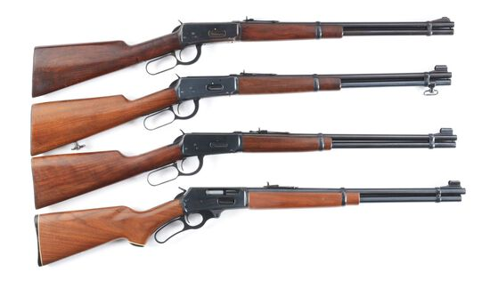 (M) LOT OF FOUR LEVER ACTION RIFLES: THREE WINCHESTER 1894 .30-30 AND ONE MARLIN 336 .30-30