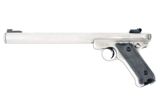 (N) ALWAYS DESIRABLE RUGER MK II GOVERNMENT TARGET MODEL SEMI-AUTOMATIC PISTOL WITH INTEGRAL BLAYLOC