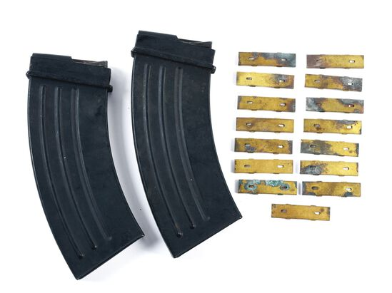DESIRABLE LOT OF 2: JAPANESE TYPE 96 MAGAZINES AND 15 STRIPPER CLIPS.