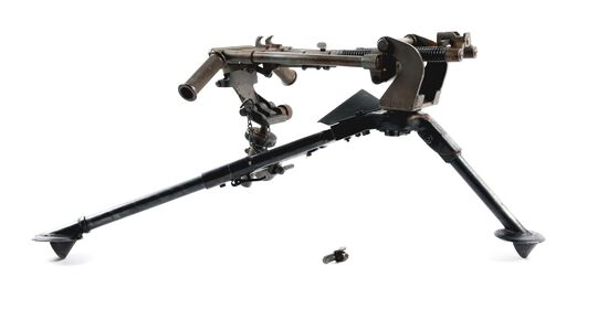 MADSEN DISA MG3 BUFFERED CRADLE MOUNT WITH A BROWNING 1919A4 M2 TRIPOD.