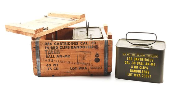 CRATE OF 384 ROUNDS OF U.S.G.I. WINCHESTER REPEATING ARMS .30-06 AMMUNITION ON M1 GARAND ENBLOC CLIP