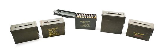 LOT OF 5: FIVE METAL AMMO CANS OF .50 BMG AMMUNITION, APPROXIMATELY 500 ROUNDS.