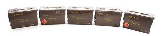 LOT OF 5: 5 METAL CANS OF L7A1 HIRTENBERGER 9MM, THREE STILL LEAD TAB SEALED.