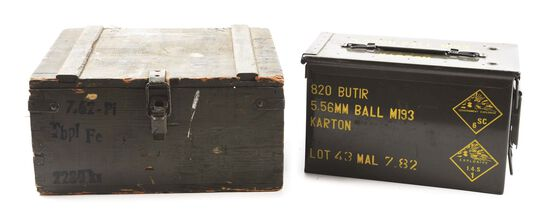 LOT OF 2: WOOD AMMO CRATE & METAL AMMO CASE OF APPROXIMATELY 3500 ROUNDS OF 7.65X25MM AMMUNITION.