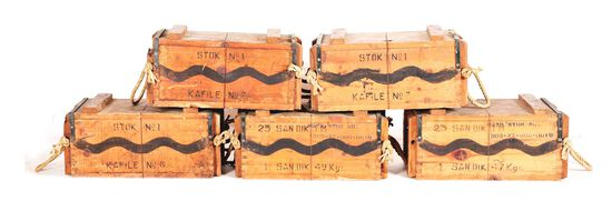 LOT OF 5: CRATES OF TURKISH 8MM MAUSER AMMUNITION (7000 ROUNDS).