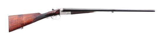 (C) FRANCOTTE 12 GAUGE SIDE BY SIDE SHOTGUN WITH SCOTTISH MOTIFS ON RECOIL SHIELDS.