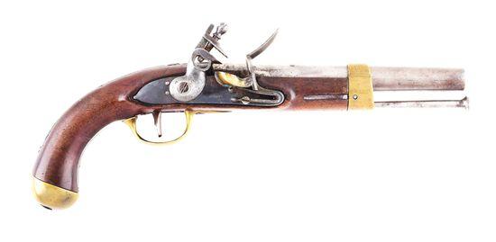 (A) RARE EVANS 1814 FLINTLOCK MILITIA CONTRACT PISTOL.
