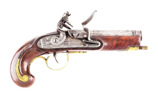 (A) SMALL FLINTLOCK KENTCUKY PISTOL BY HENRY YOUNG.