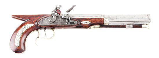 (A) AMERICAN SILVER MOUNTED SAW HANDLE FLINTLOCK DUELING OR TARGET PISTOL BY H. T. COOPER.