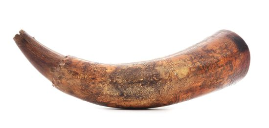 ENGRAVED PHILADELPHIA MAP POWDER HORN OF JOHN PURVIANCE, DATED 1768, ATTRIBUTED TO THE POINTED TREE