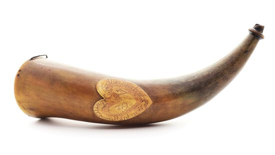 IMPORTANT ENGRAVED POWDER HORN OF CAPTAIN ABRAHAM FOOT, DATED 1762, EX. GUTHMAN / FLAYDERMAN COLLECT