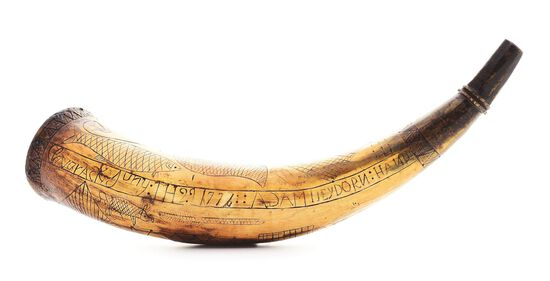 IMPORTANT GERMAN LOYALIST-MADE ENGRAVED POWDER HORN MADE BY ADAM HEYDORNE AND DATED 1776, CLAVARACK.