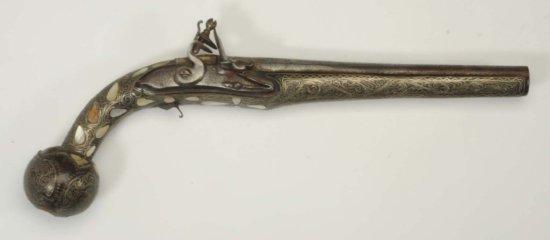 Flint Pistol w/ Mother of Pearl Handle.