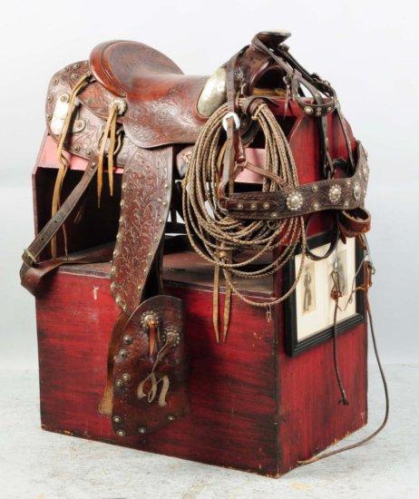 Wonderfully-Tooled Leather Western Saddle.
