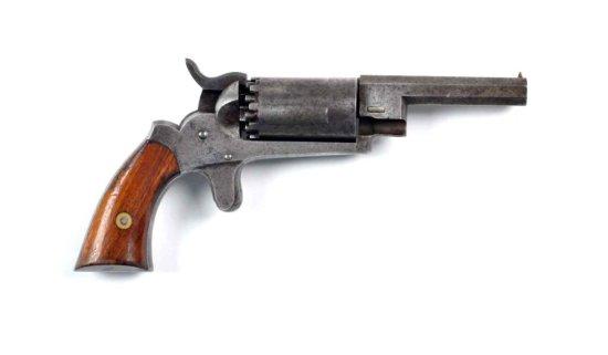 Rare J. Walch 10 Shot Dbl Hammer Pocket Revolver.