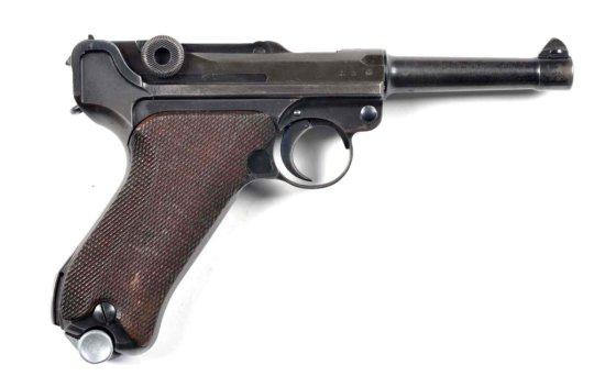 **S/42 German Luger Semi-Automatic Pistol.
