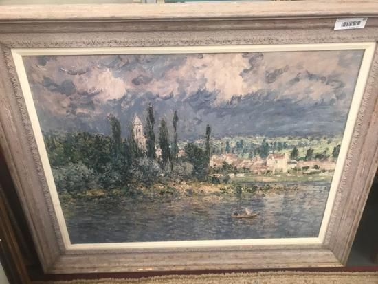 Framed Monet Reproduction on Canvas