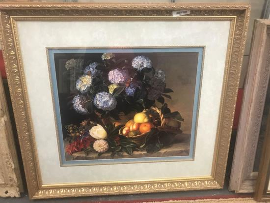 Framed fruit and flower print