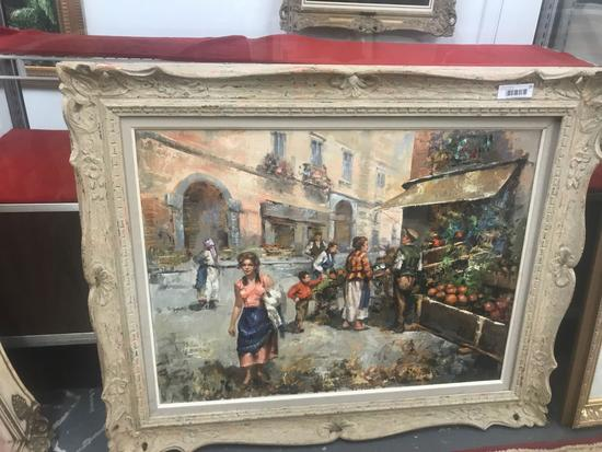 "Framed ""Street Vendor"" Painting"