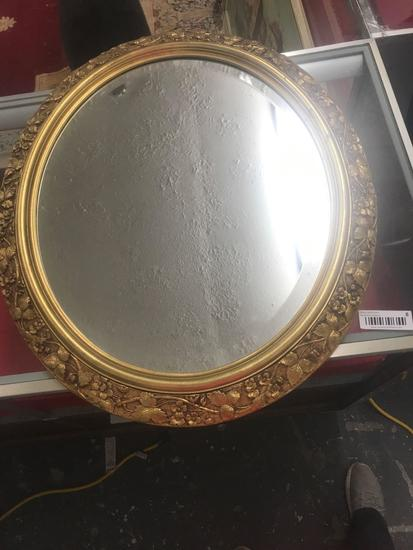 Oval Gold Leaf Beveled Mirror...