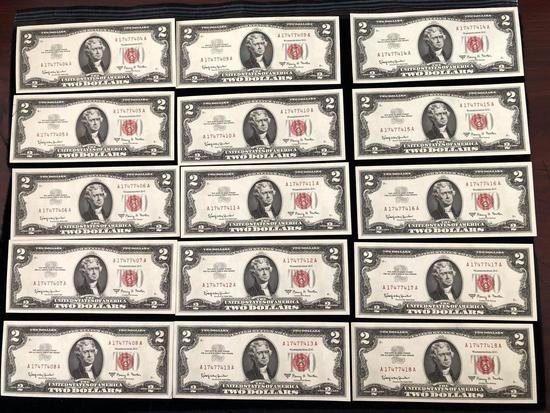 $2 Bill Red Seal Lot of 15