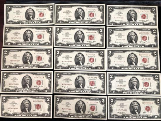 Lot of 16 $2 Red Seal Bills