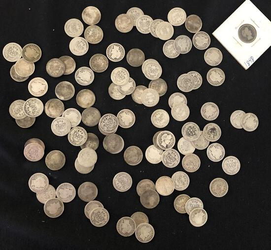1 Lot of 96 Barber Dimes