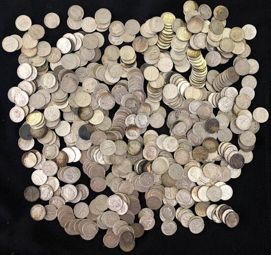 Approximately 570 Roosevelt Silver Dimes