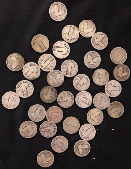 1 Lot of 34 Standing Liberty Quarter Dollars