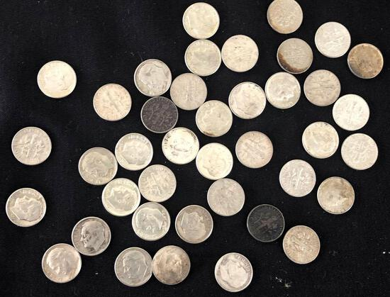 1 Lot of 40 Silver Dimes