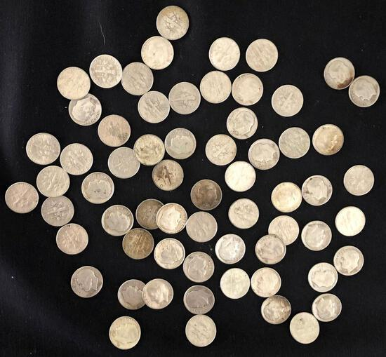 1 Lot of 63 Silver Dimes