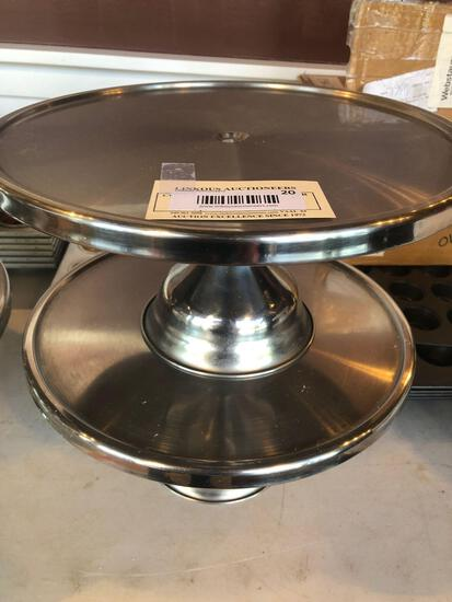 1 Lot of 2 Stainless Steel Cake Stands