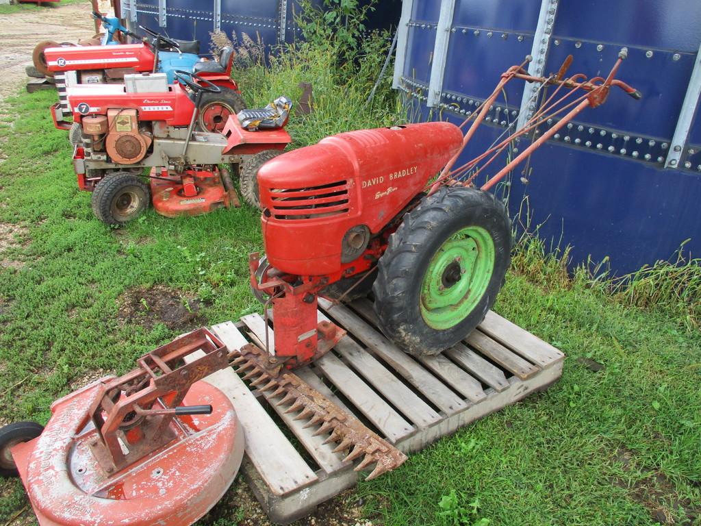 Lot: David Bradley walk behind garden tractor w/ sickle mower