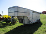 2001 Kiefer Built 20 ft. Alum goosenck livestock trailer, tandem axle, rubber floor mats