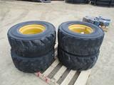 (4) 12-16.5 skid loader tires & rims, SELLS 4 X $