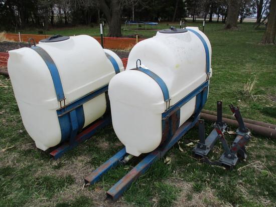 Set of 200 gallon saddle tanks & bracket