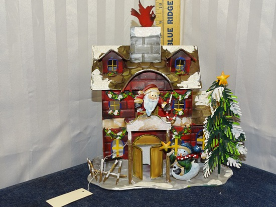 Home Interiors Tin Snow Covered House Red Bird