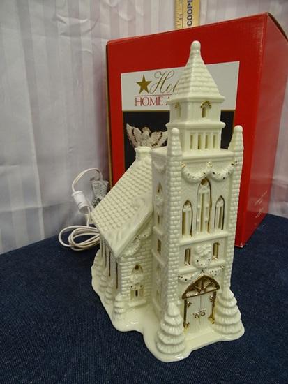 Porcelain Jade Church lighted
