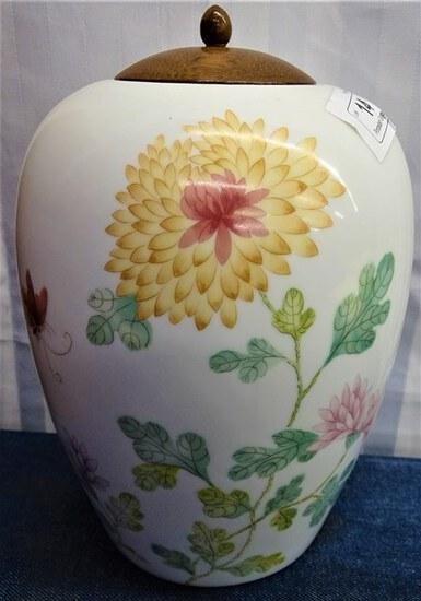 2 Porcelain Ginger Jar w/ wooden Lid MIB NOS