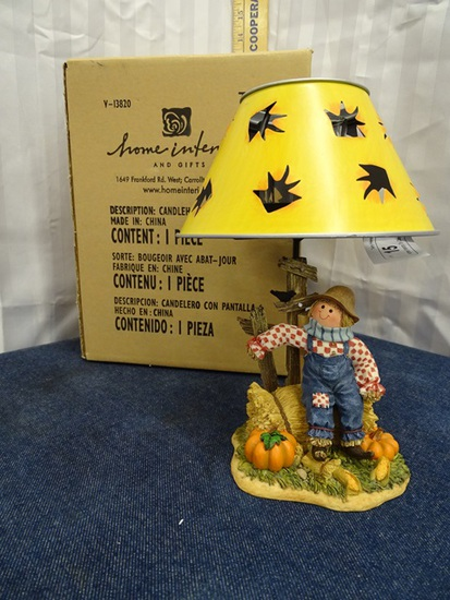 Home Interiors Tin Candle Scarcrow Lamp w/Shade