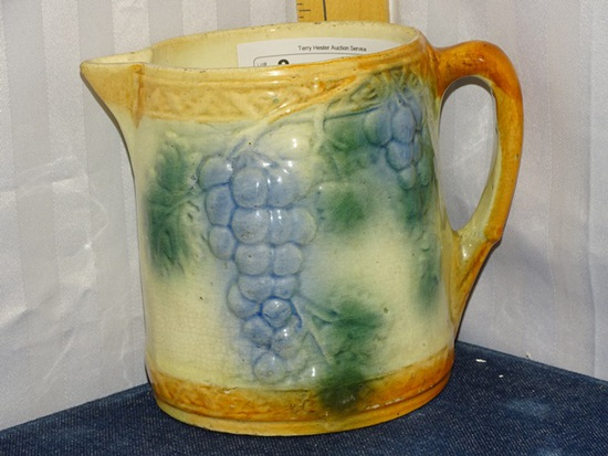 "RosevilleGrape Pitcher 6"" Embossed 1915 unmarked"