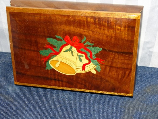 "Wooden Music Box Inlay Top ""Christmas Bells"""