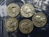 5 Washington Quarters 1960,60D,61,63D,64