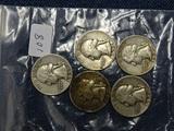 5 Washington Quarters 1952D,54,56,58D,59D