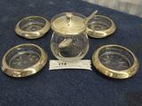 Sterling Silver Mustar Jar & Spoon 4 Costers