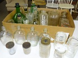 Box Lot of Old Friut Jars and others