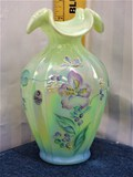 Fenton Hand Painted Green Opalescent Vase