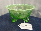 3 Footed Green Opalescent Bowl