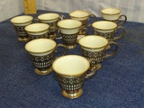 10 Sterling Silver Porcelain Lined Demitasse Cups